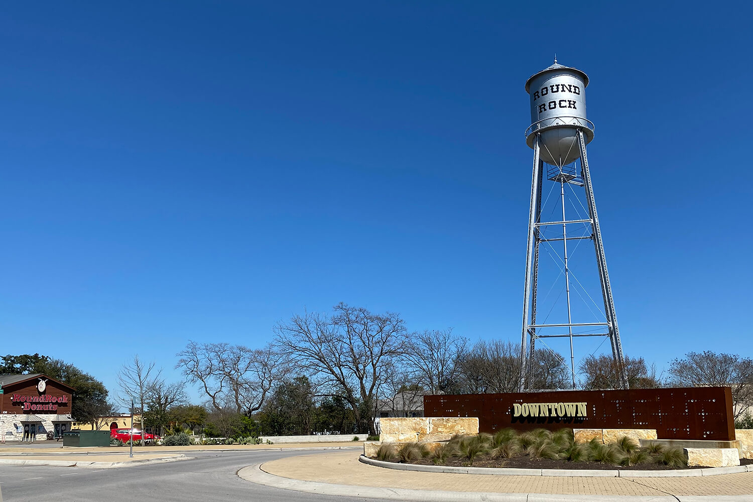 Round Rock Downtown Round Rock Donuts and Water Tower Photo