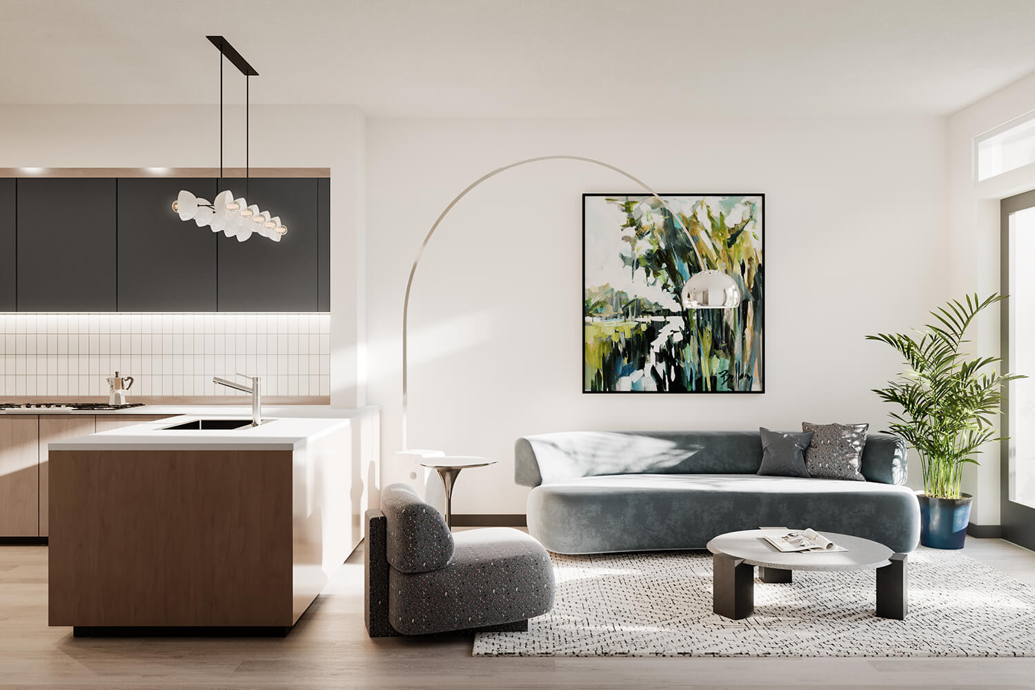 The Sommery Kitchen & Living Room Rendering